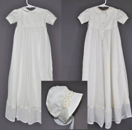 Val Shalbrack sent her wedding dress to have this heirloom gown and bonnet set made for her family.