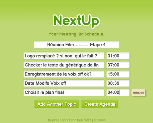 Planning de réunion NextUp