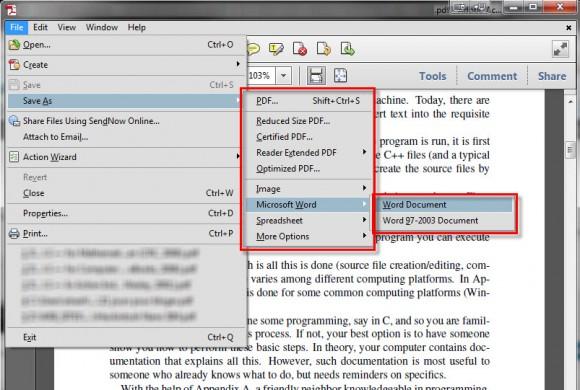 Un large choix d'export de PDF dans Acrobat
