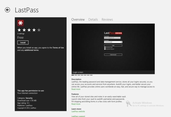 écran d'installation de lastpass sur windows 8