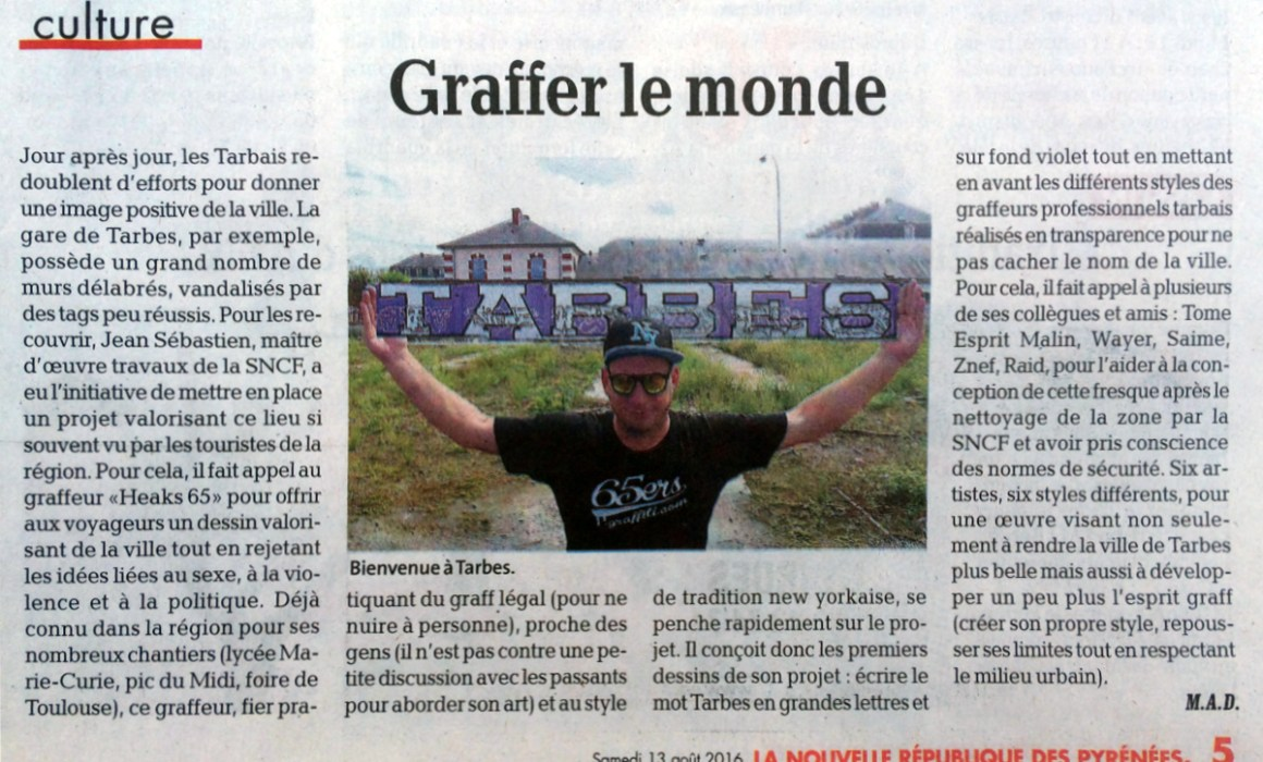 Article Gare Tarbes Graffiti