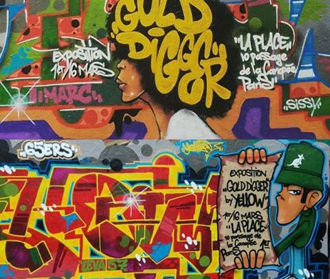 Yellow graffiti expo paris
