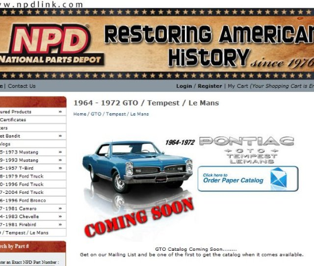 National Parts Depot To Offer Gto Parts Soon