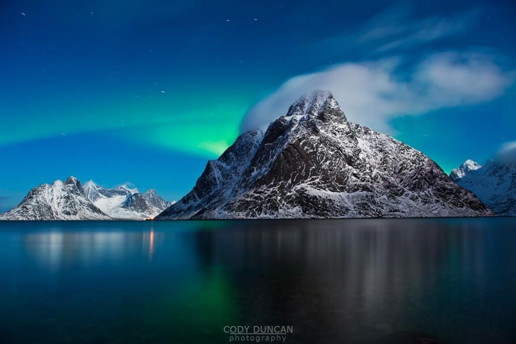 Car Parked At Night Wallpaper  Northern Lights Over Mountain Lofoten Islands Landscape