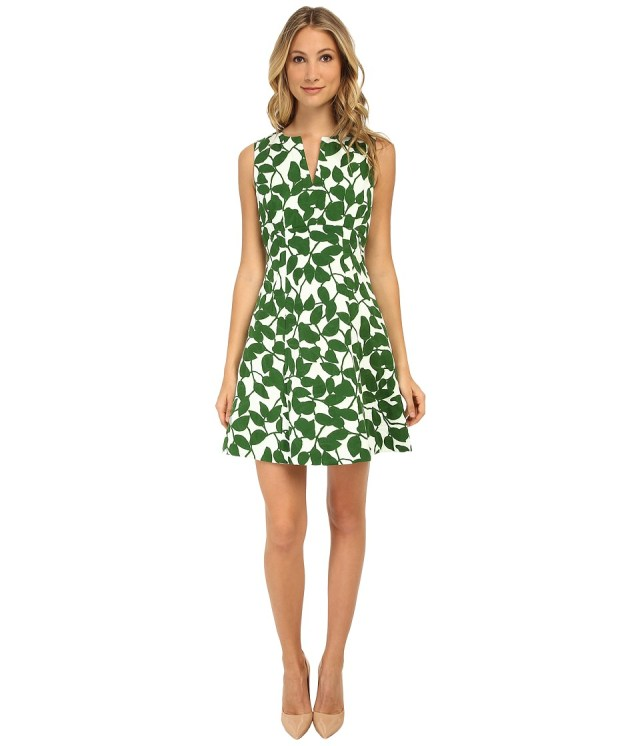 Kate Spade New York - Garden Leaves Pique A-Line Dress (Lucky Green) Women's Dress
