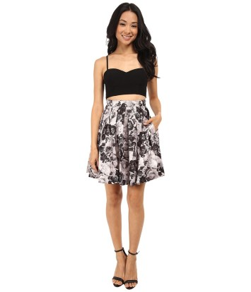 Aidan Mattox - Bustier Top with Printed Party Skirt (Black/Multi) Women's Skirt