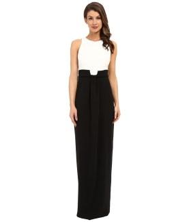 Badgley Mischka - Drape Front Black White Gown (Black Light) Women's Dress