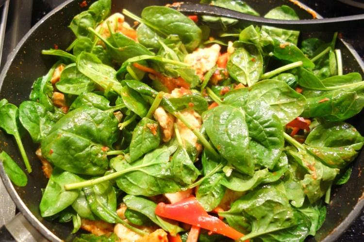 Kylling i rød karry med frisk spinat