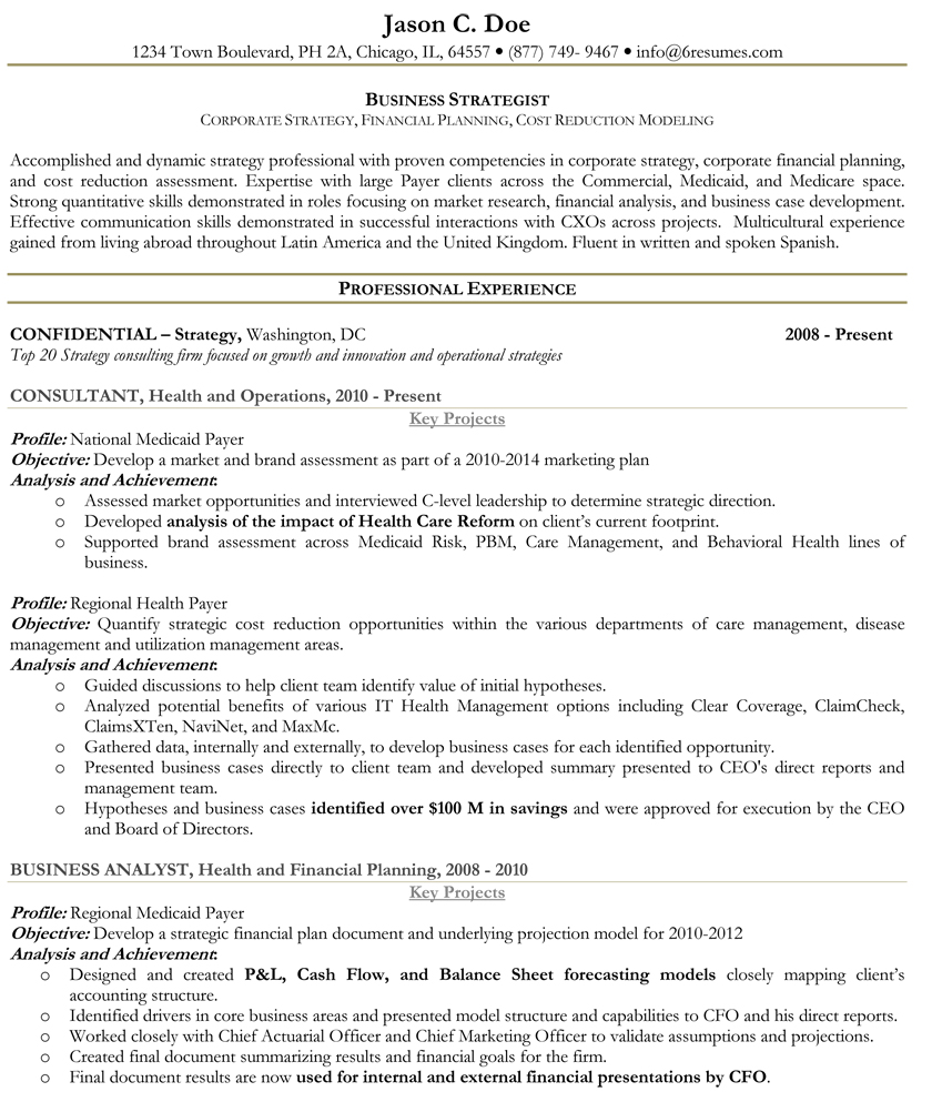 Two Page Resume Format Example