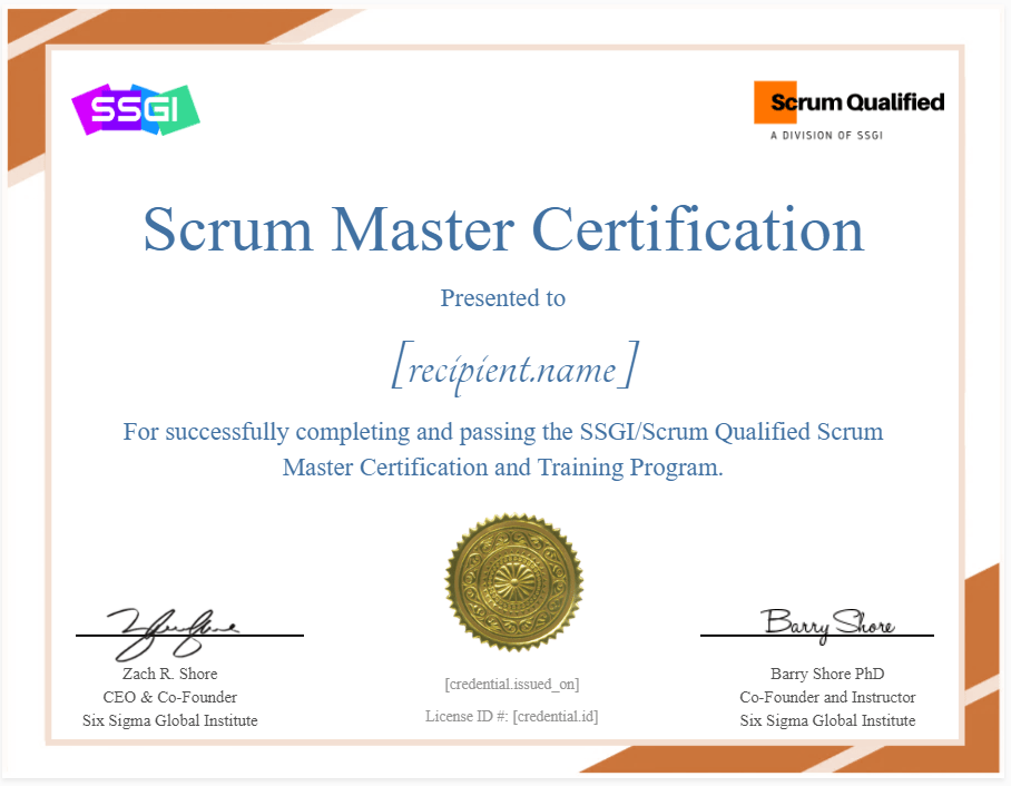Scrum Master Certification Scrum Qualified SSGI