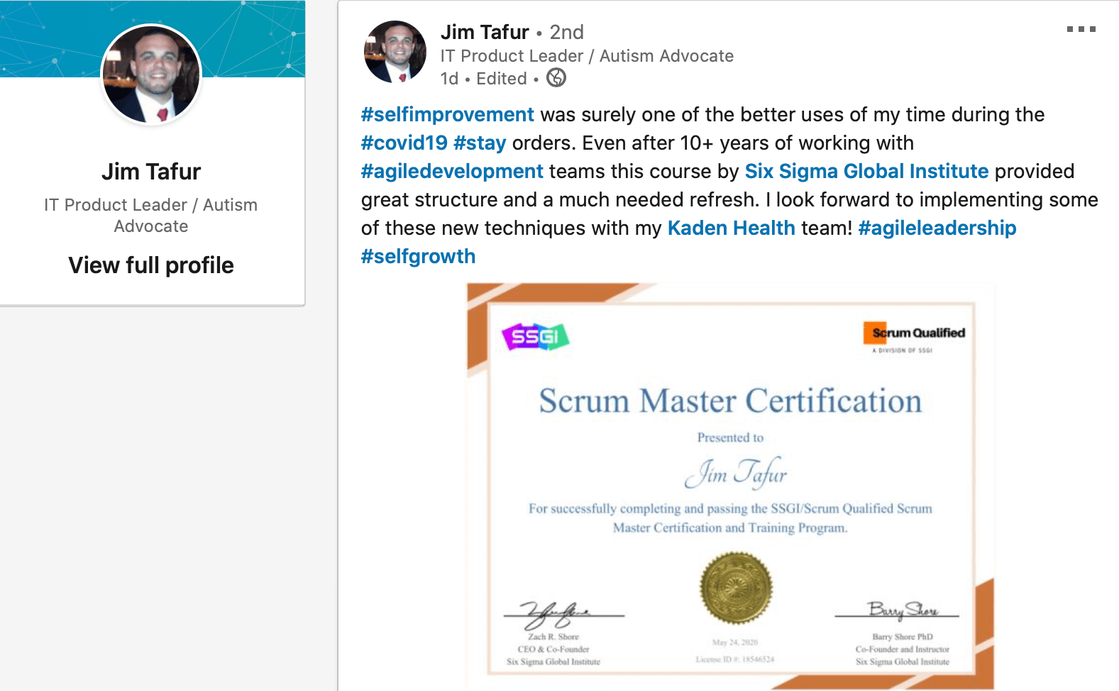 Scrum Master Certification SSGI Review