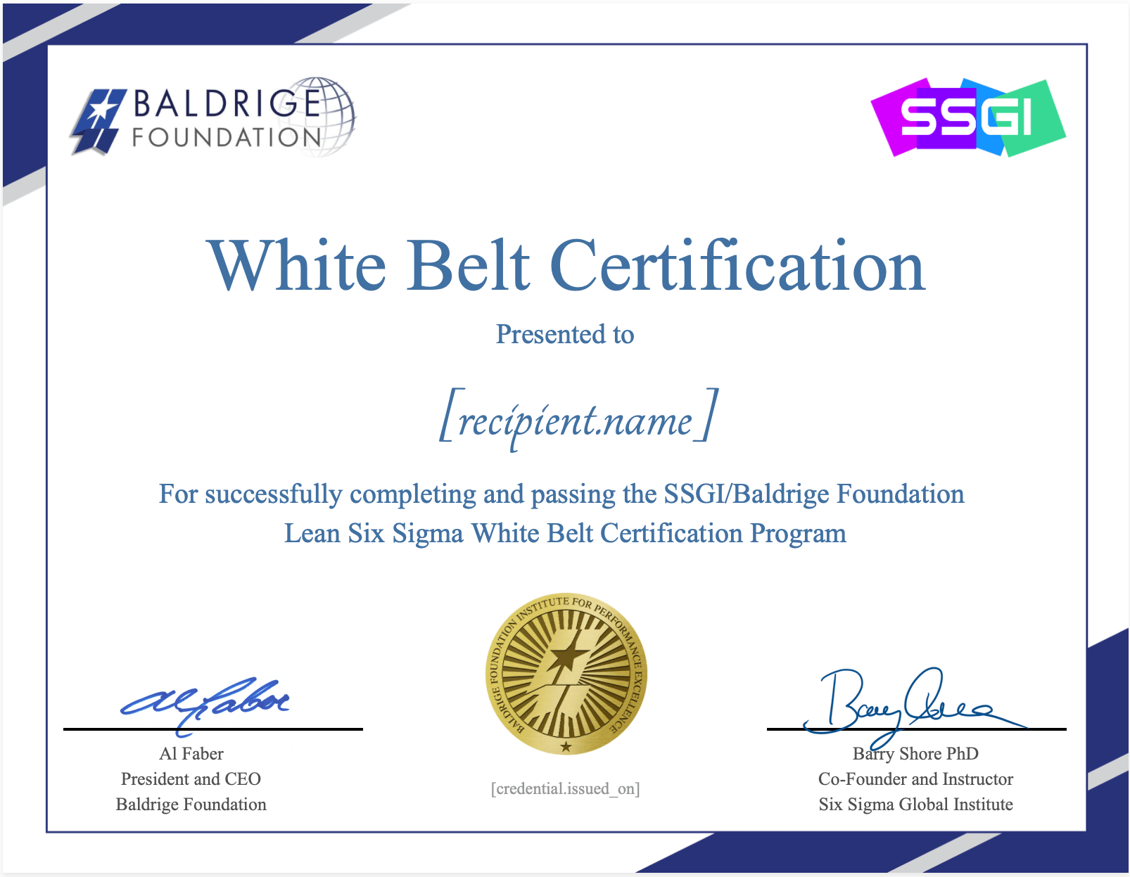 white belt baldrige foundation ssgi
