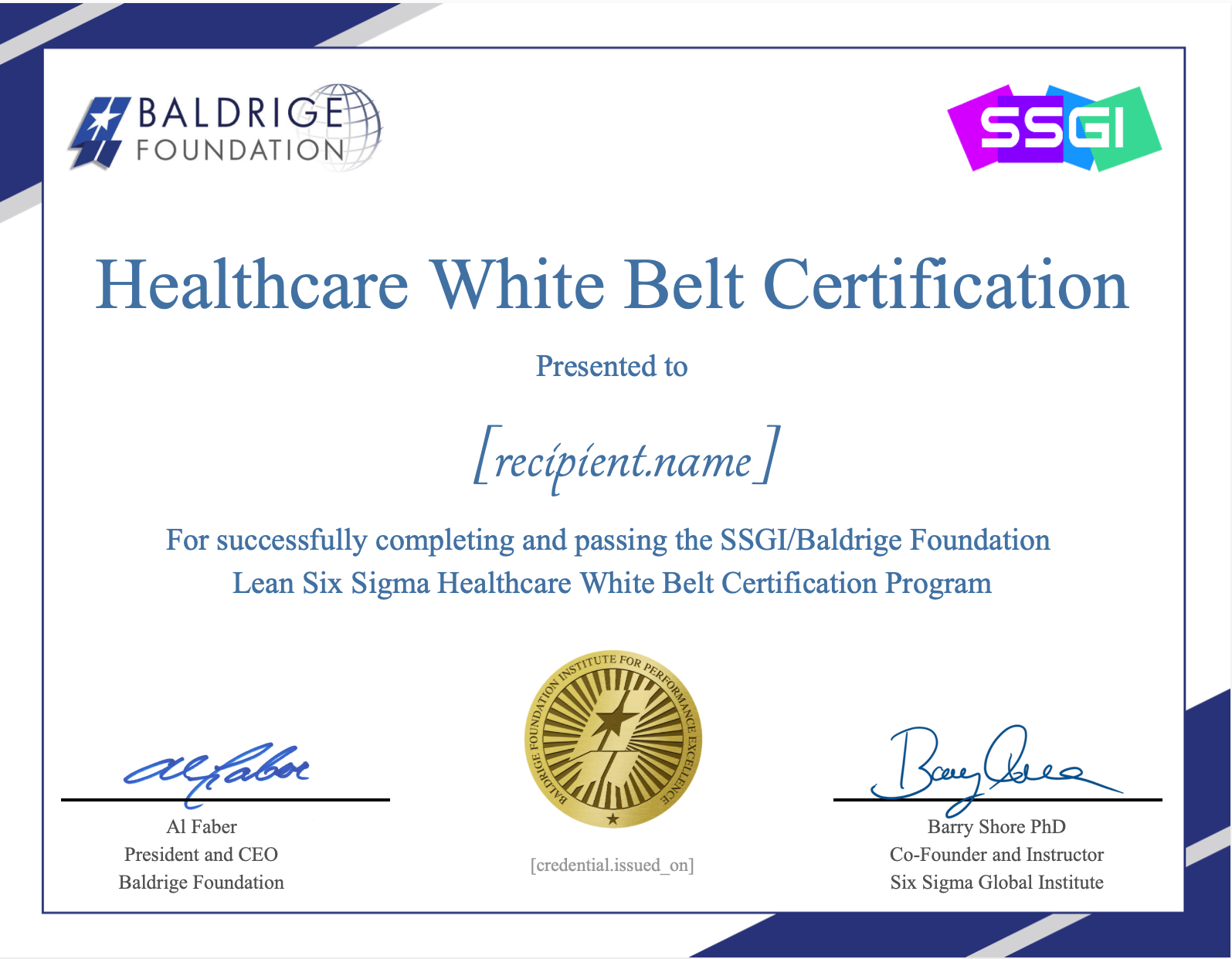 white belt healthcare baldrige ssgi