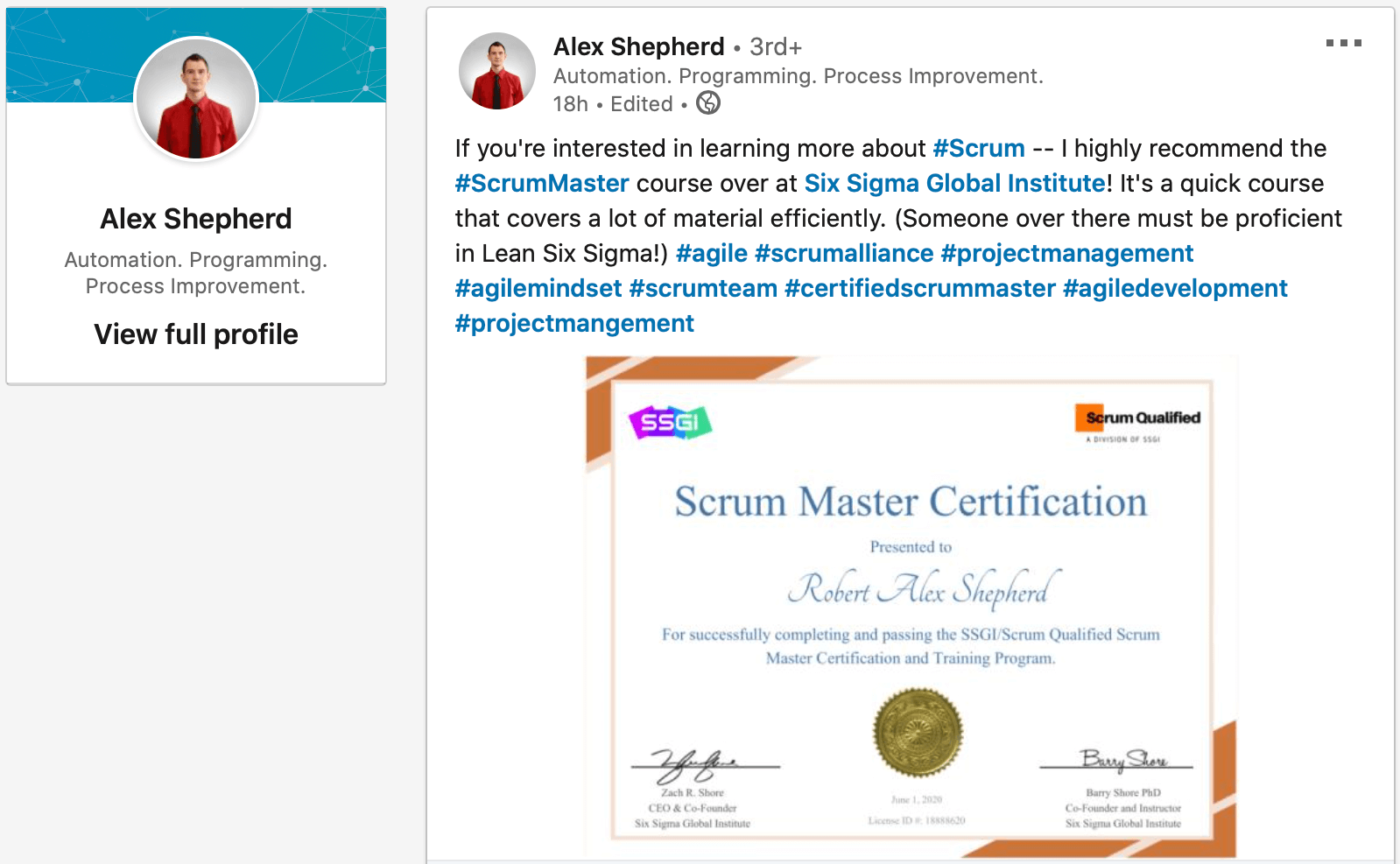ssgi scrum master certification review