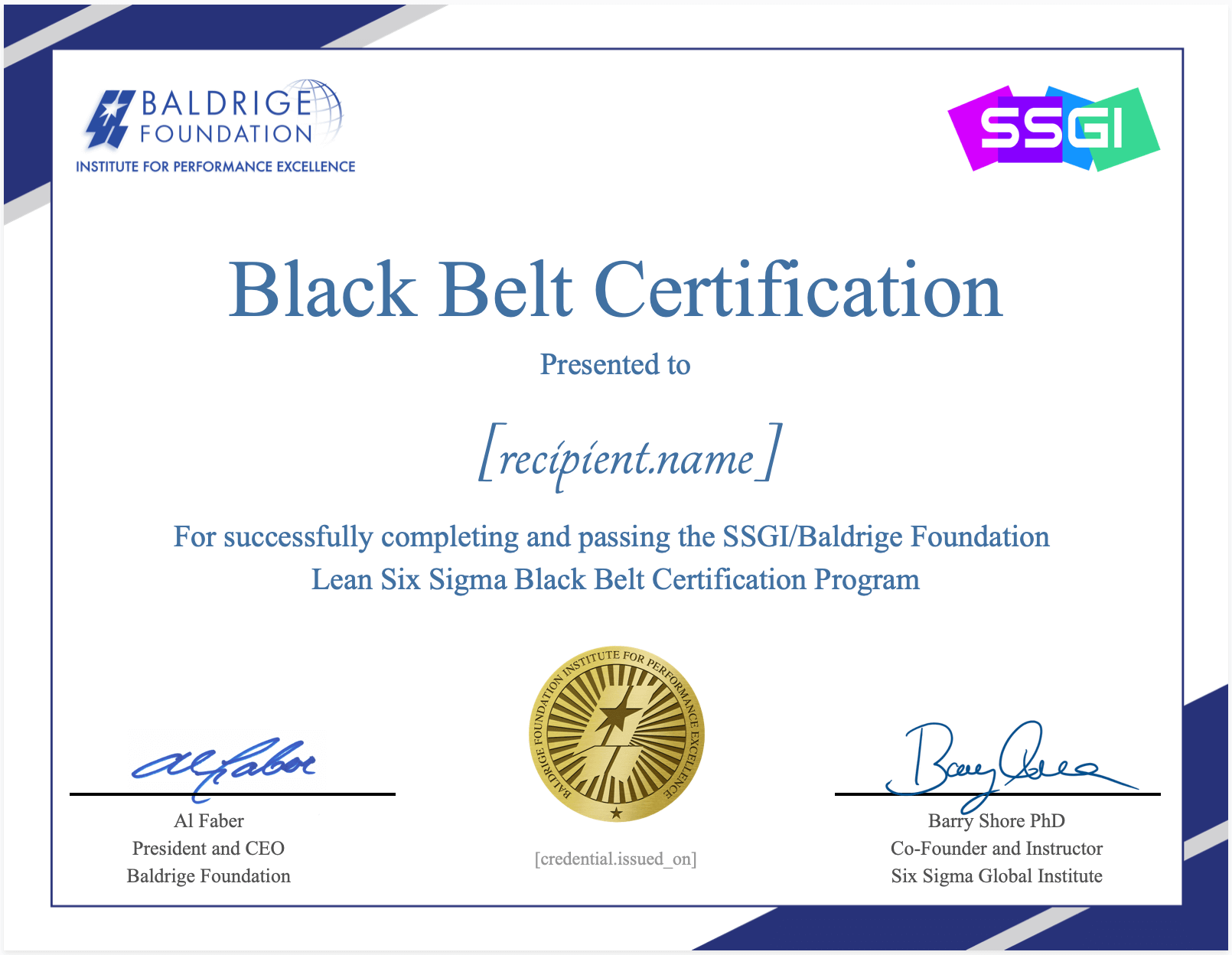 ssgi baldrige six sigma black belt