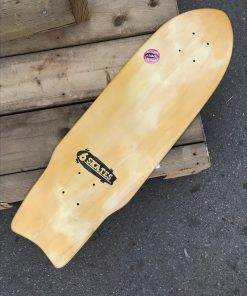 Complete Skateboard. The deck is made from an up-cycled salvaged skateboard deck.