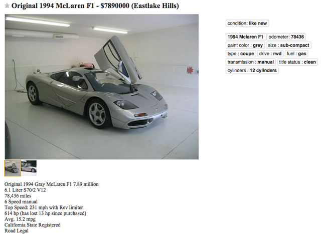 Should You Sell Your McLaren F1 on Craigslist? - 6SpeedOnline