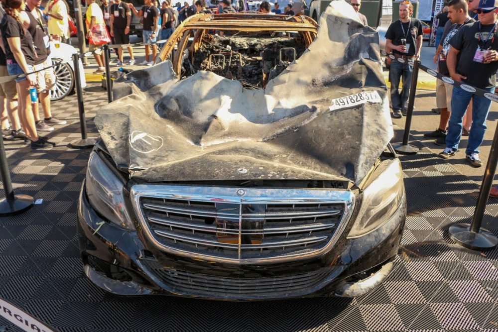 Burned Maybach Hood