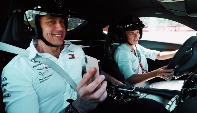 Tot and Susie Wolff in the AMG GT-R