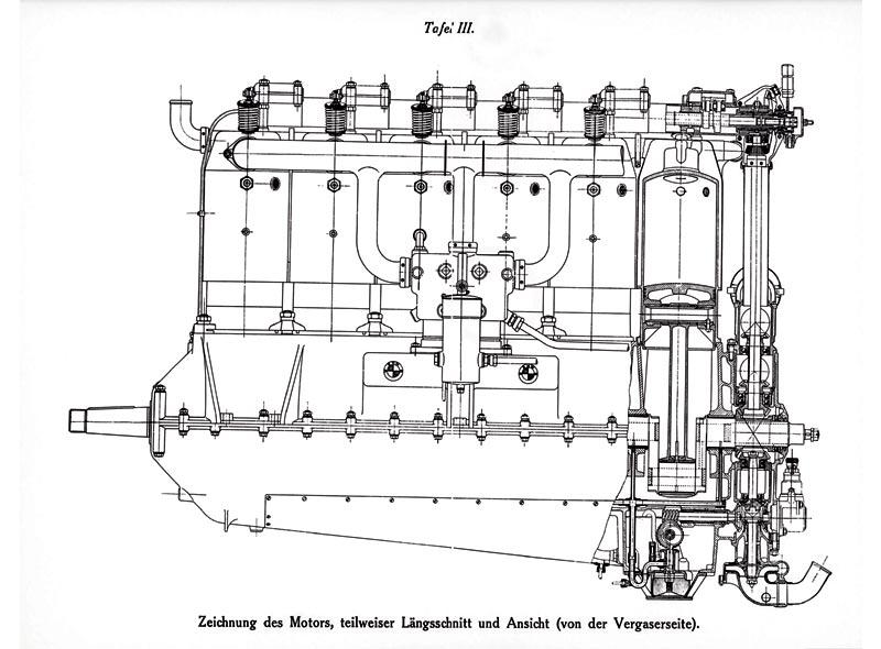 Foto: Zeichnung des ersten BMW Motors IIIa, 1917 (vergrößert)