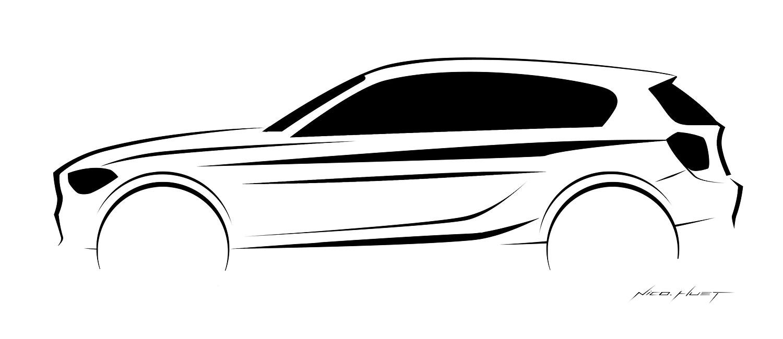 Foto: BMW 1er Reihe, Design Zeichnung (vergrößert)
