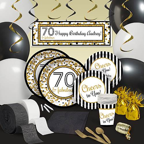 Cheers To You 70th Birthday Decoration Kit For 8