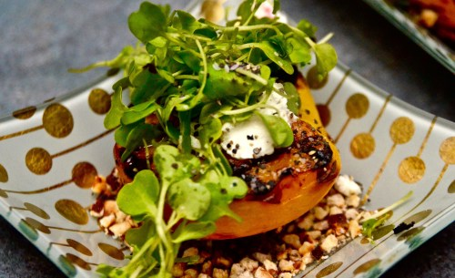 Grilled Peach With Goat Cheese, Microgreens & Honey Balsamic Reduction - 719woman.com