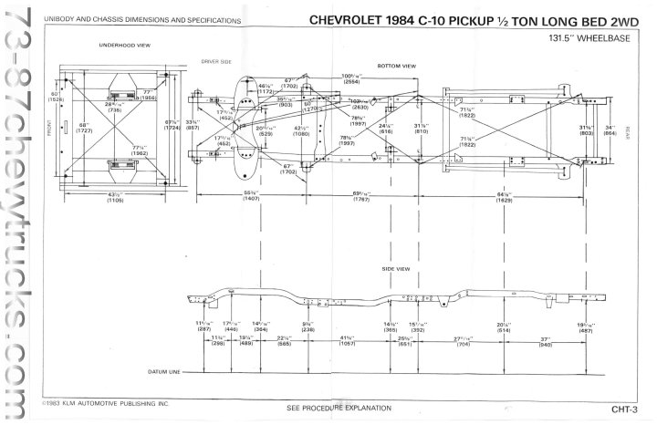 frame dimensions chevy truck