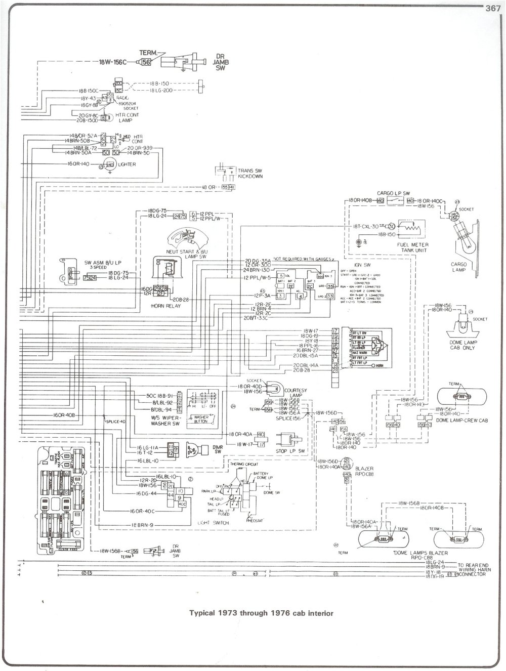 medium resolution of 73 76 cab interior complete 73 87 wiring diagrams