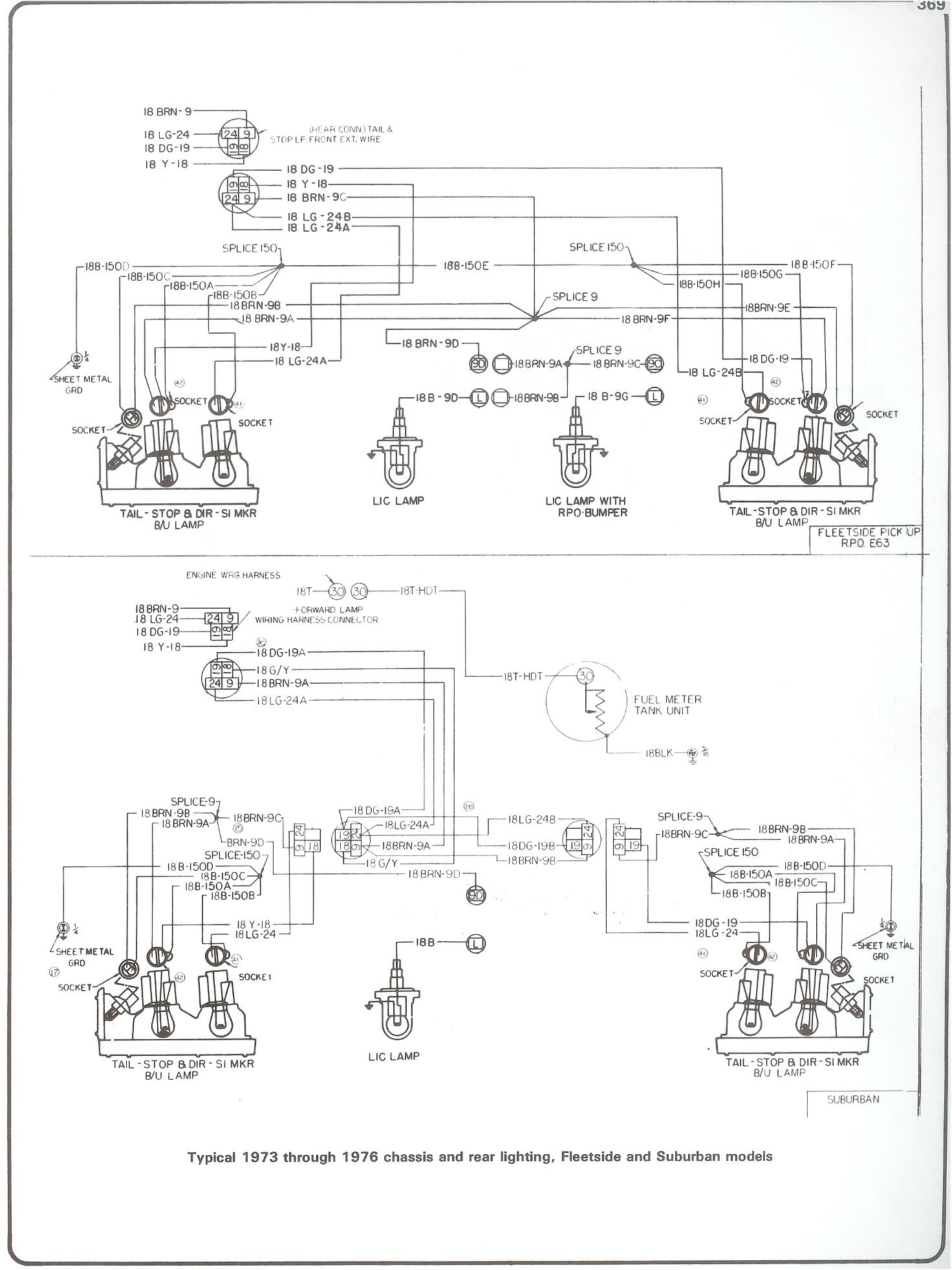 hight resolution of complete 73 87 wiring diagrams 1961 chevy truck wiring diagram 73 76 chassis rear lighting