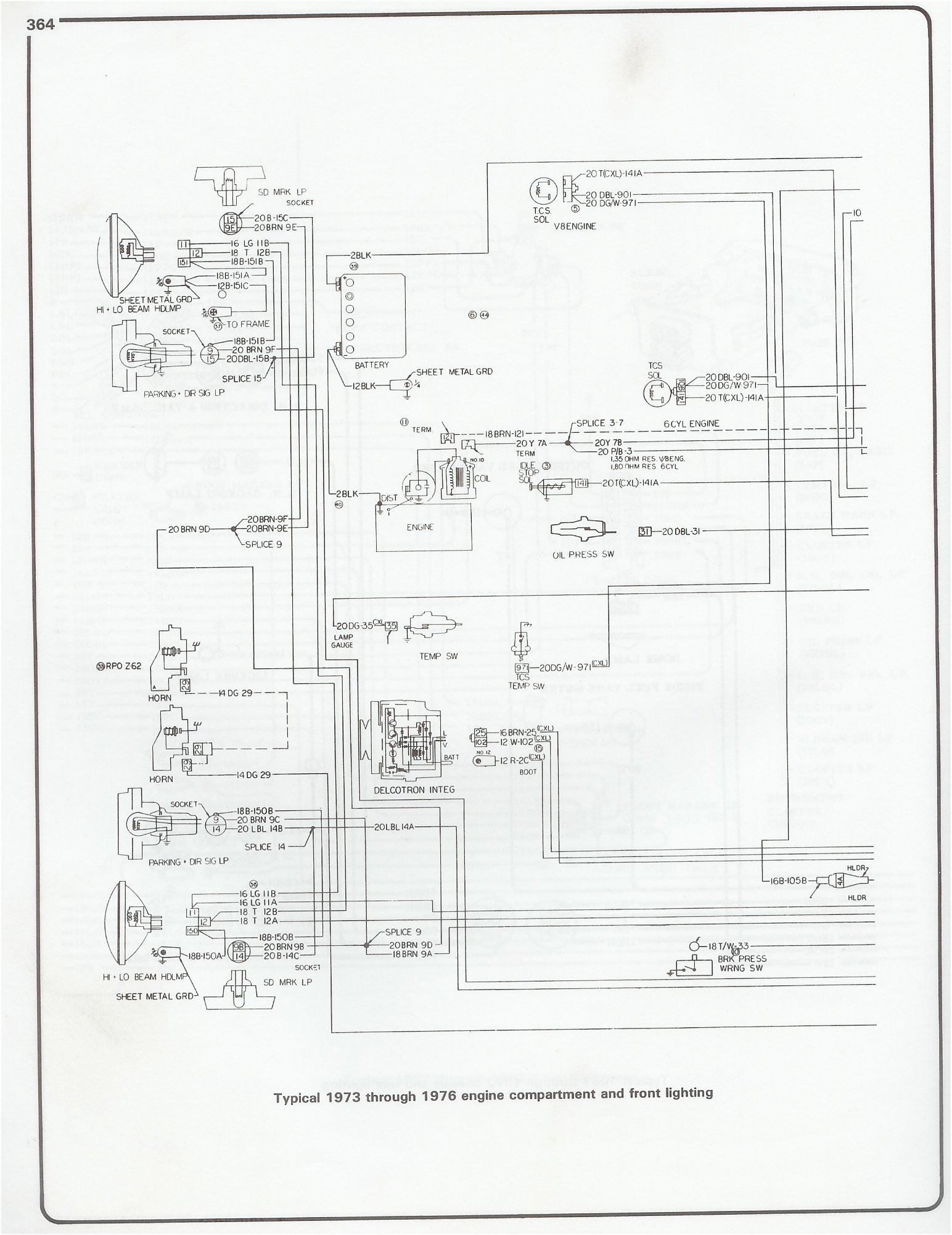 hight resolution of 73 76 engine and front lighting complete 73 87 wiring diagrams