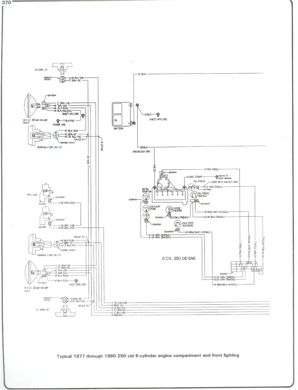 medium resolution of complete 73 87 wiring diagrams77 80 250 i6 engine wiring and front lighting