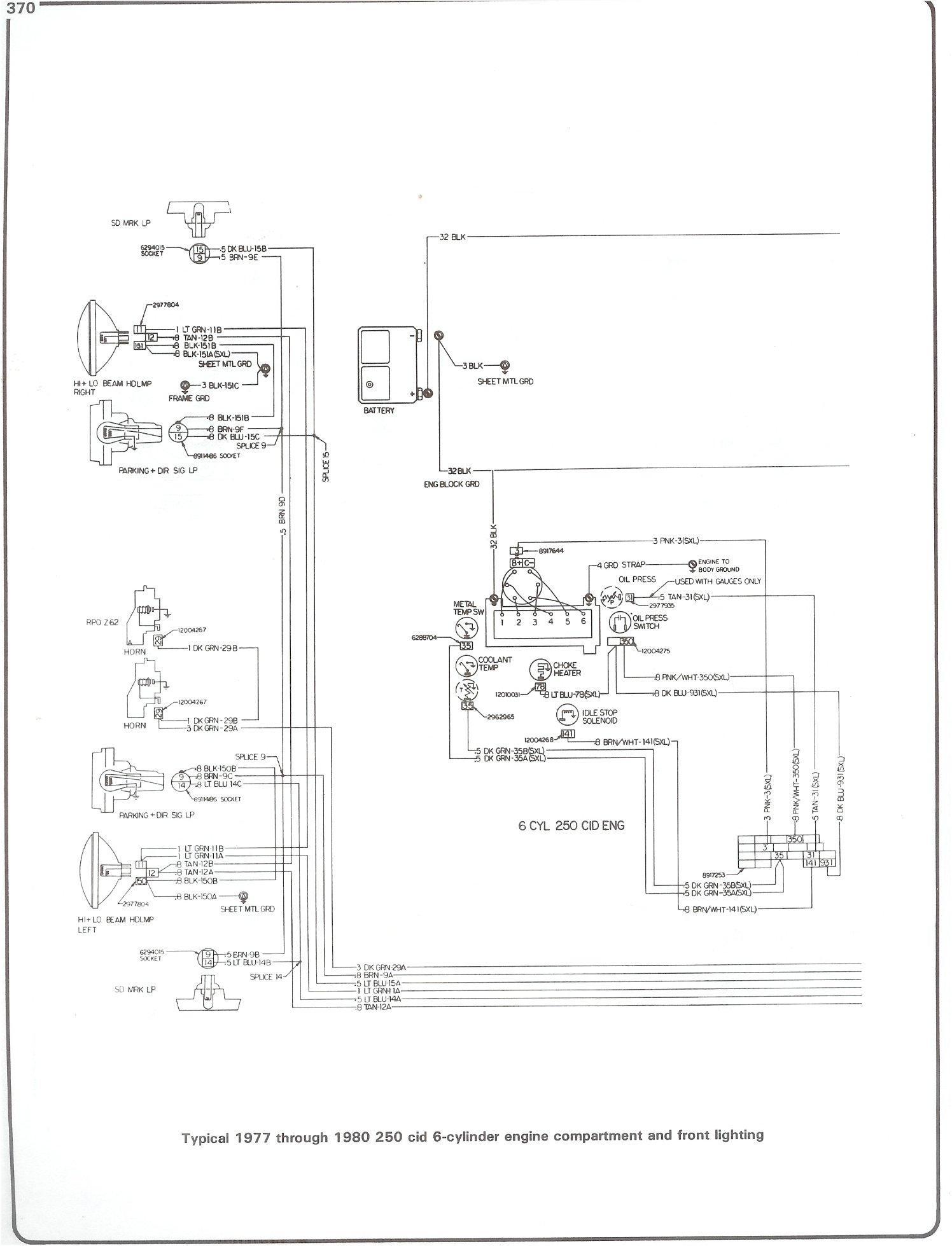 hight resolution of complete 73 87 wiring diagrams77 80 250 i6 engine wiring and front lighting