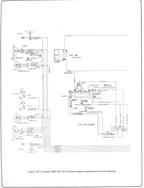 small resolution of complete 73 87 wiring diagrams77 80 250 i6 engine wiring and front lighting