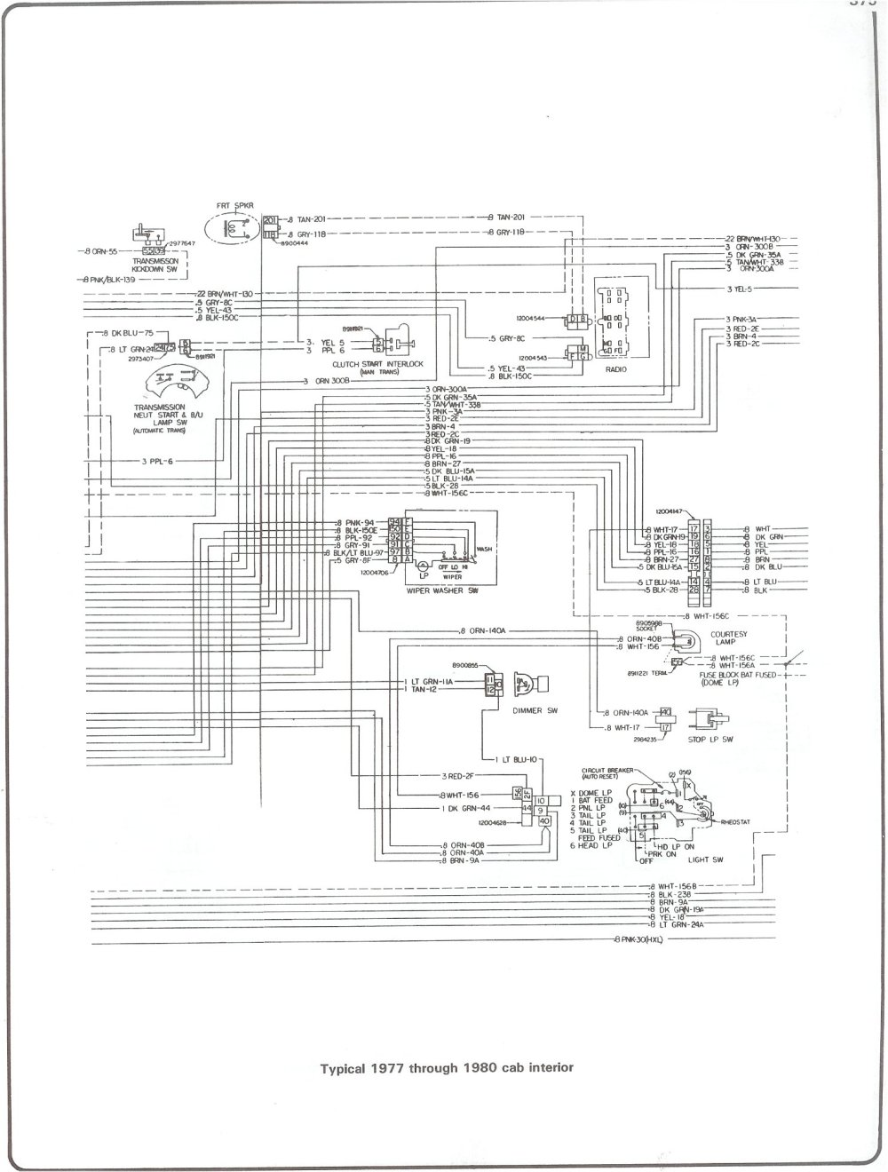 medium resolution of 77 80 cab interior complete 73 87 wiring diagrams 77 80 cab interior gm hei schematic