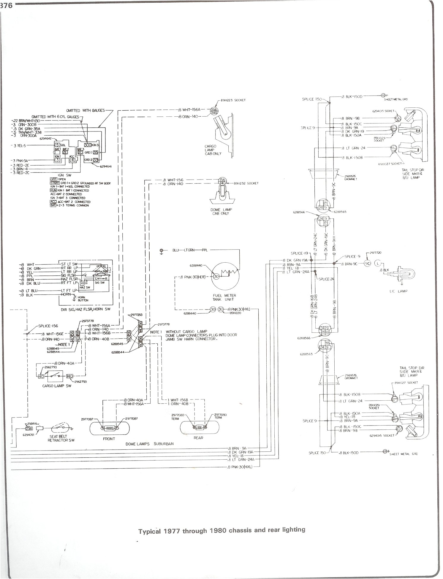 hight resolution of 77 80 chassis and rear lighting complete 73 87 wiring diagrams 77 80 chassis and rear lighting 1982 g30 van
