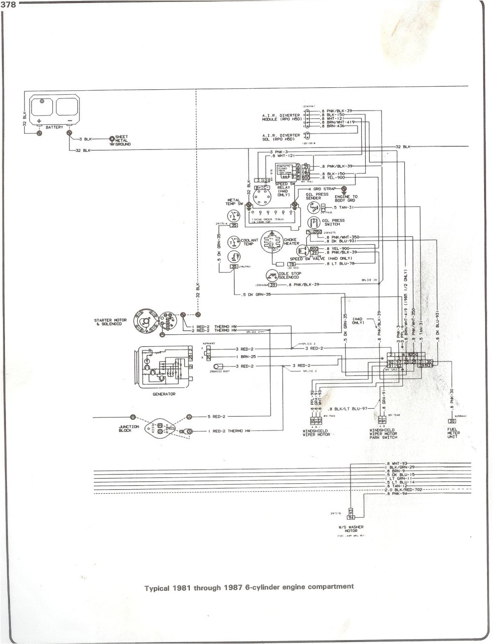 medium resolution of complete 73 87 wiring diagrams 1987 firebird wiring diagram 81 87 i6 engine compartment