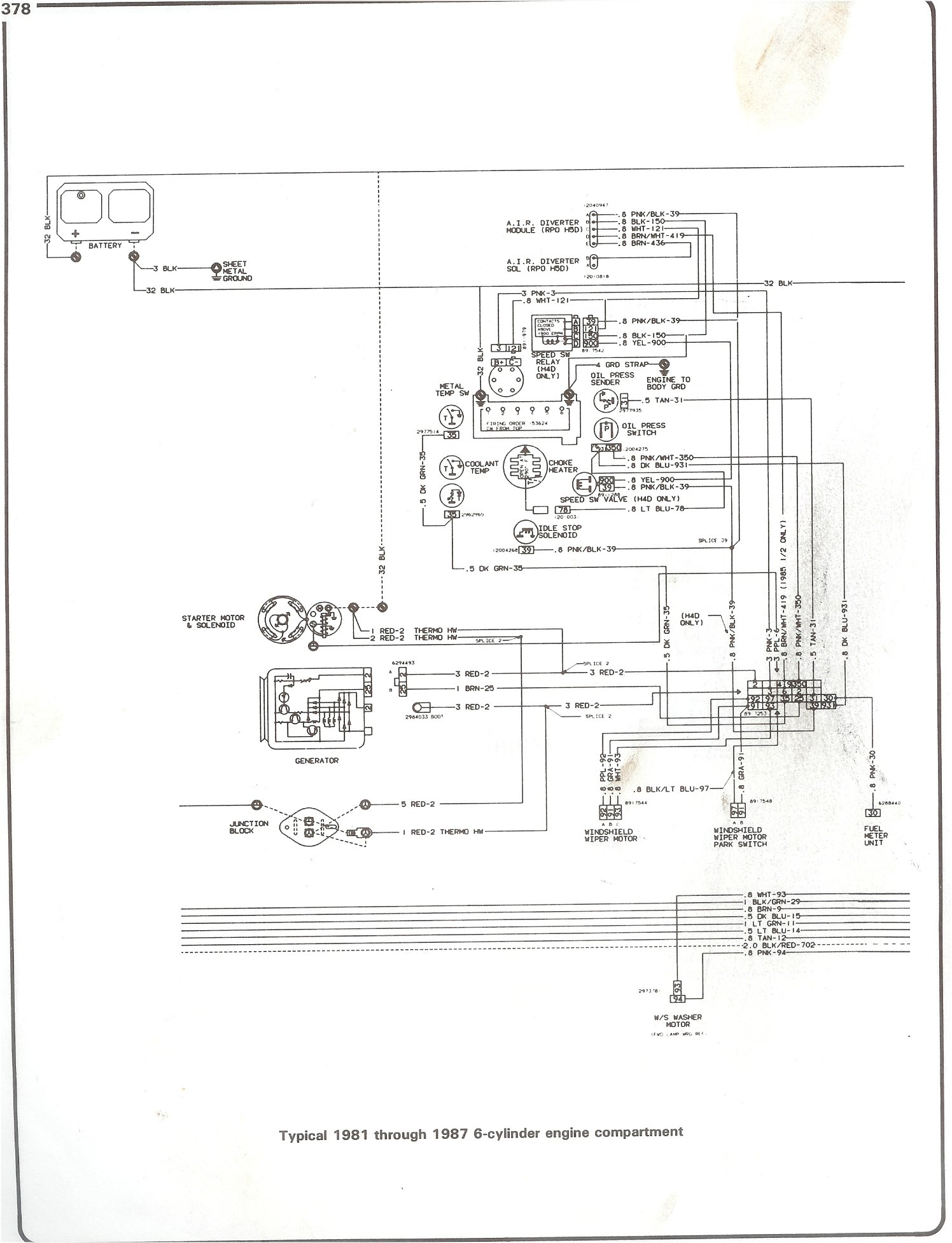 hight resolution of complete 73 87 wiring diagrams 1987 firebird wiring diagram 81 87 i6 engine compartment