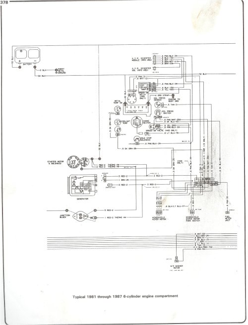small resolution of complete 73 87 wiring diagrams 1987 firebird wiring diagram 81 87 i6 engine compartment