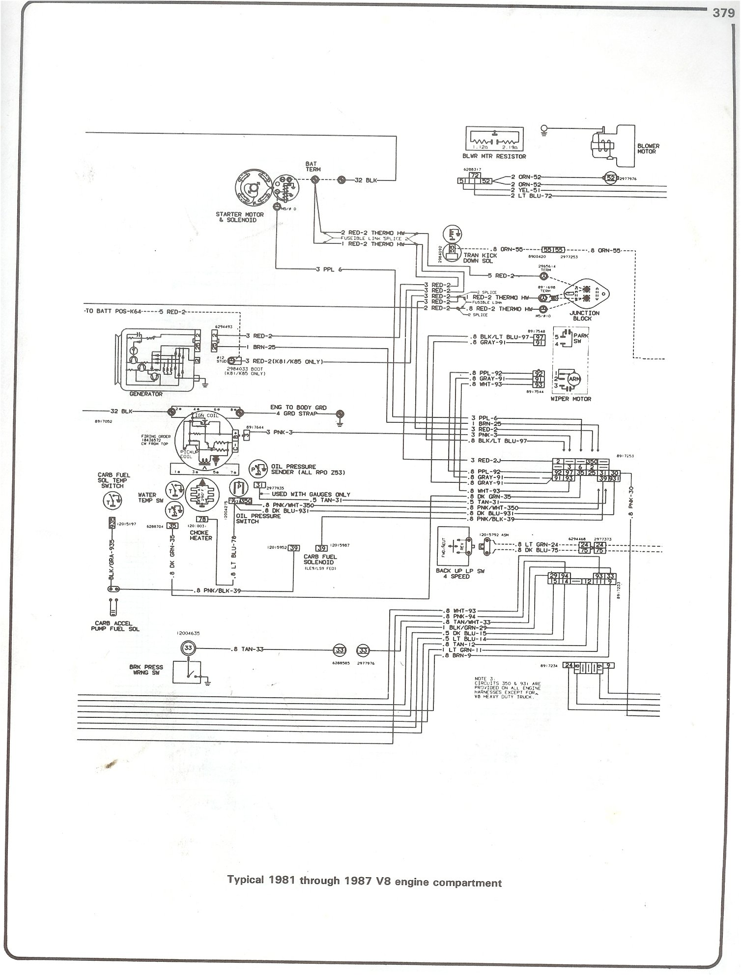 hight resolution of complete 73 87 wiring diagrams 2001 suburban wiring diagram 81 87 v8 engine compartment