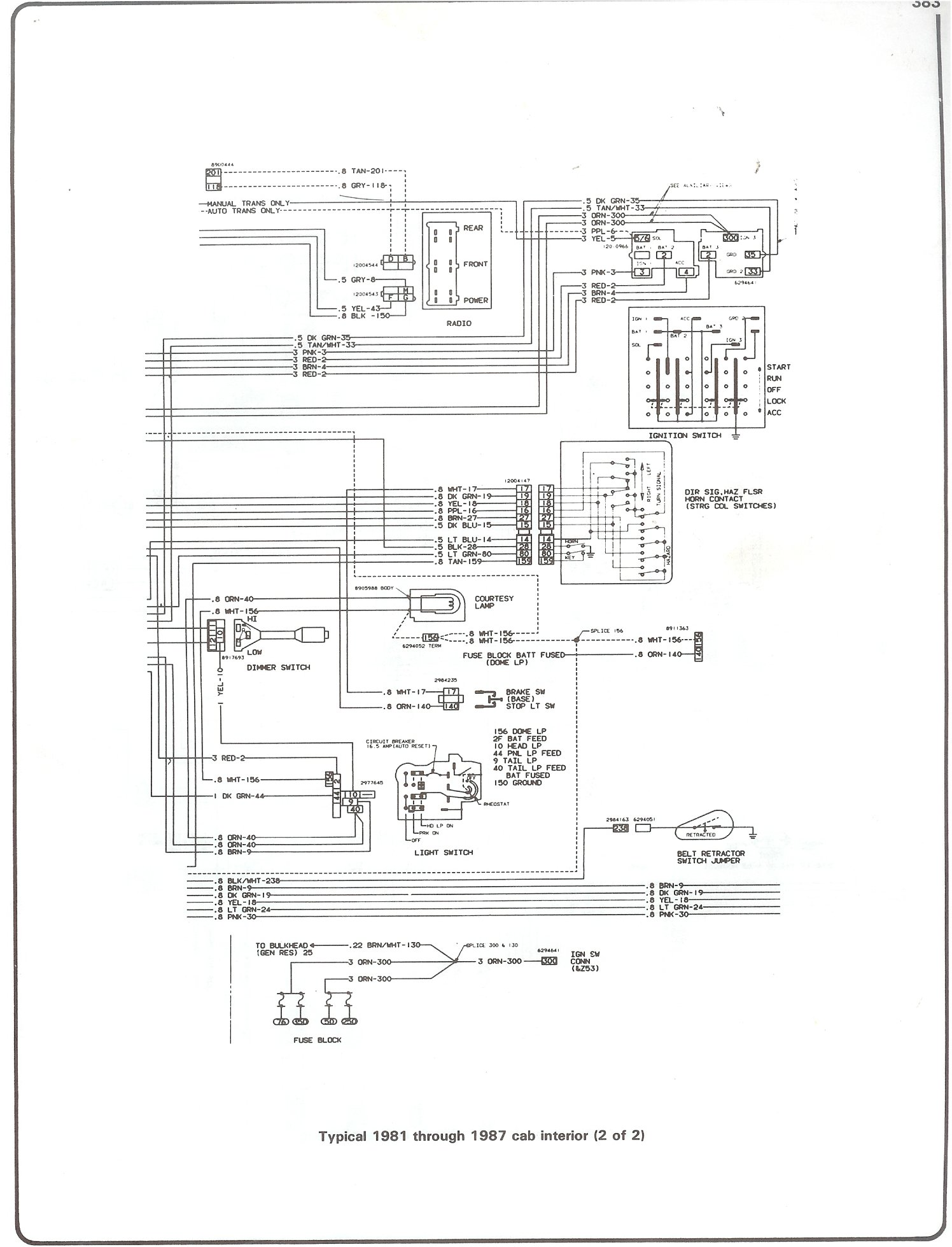 hight resolution of complete 73 87 wiring diagrams 1987 chevrolet s10 blazer 81 87 cab interior page 2