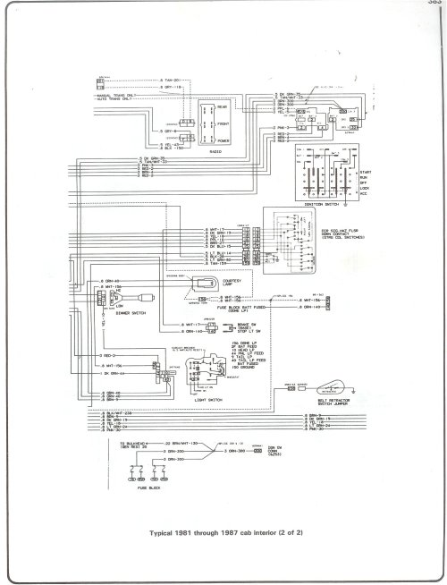 small resolution of complete 73 87 wiring diagrams 1987 chevy truck starter wiring diagram 81 87 cab interior page