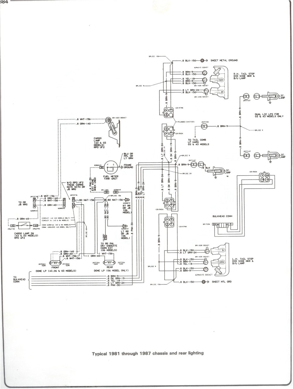 medium resolution of 81 87 chassis and rear lighting complete 73 87 wiring diagrams