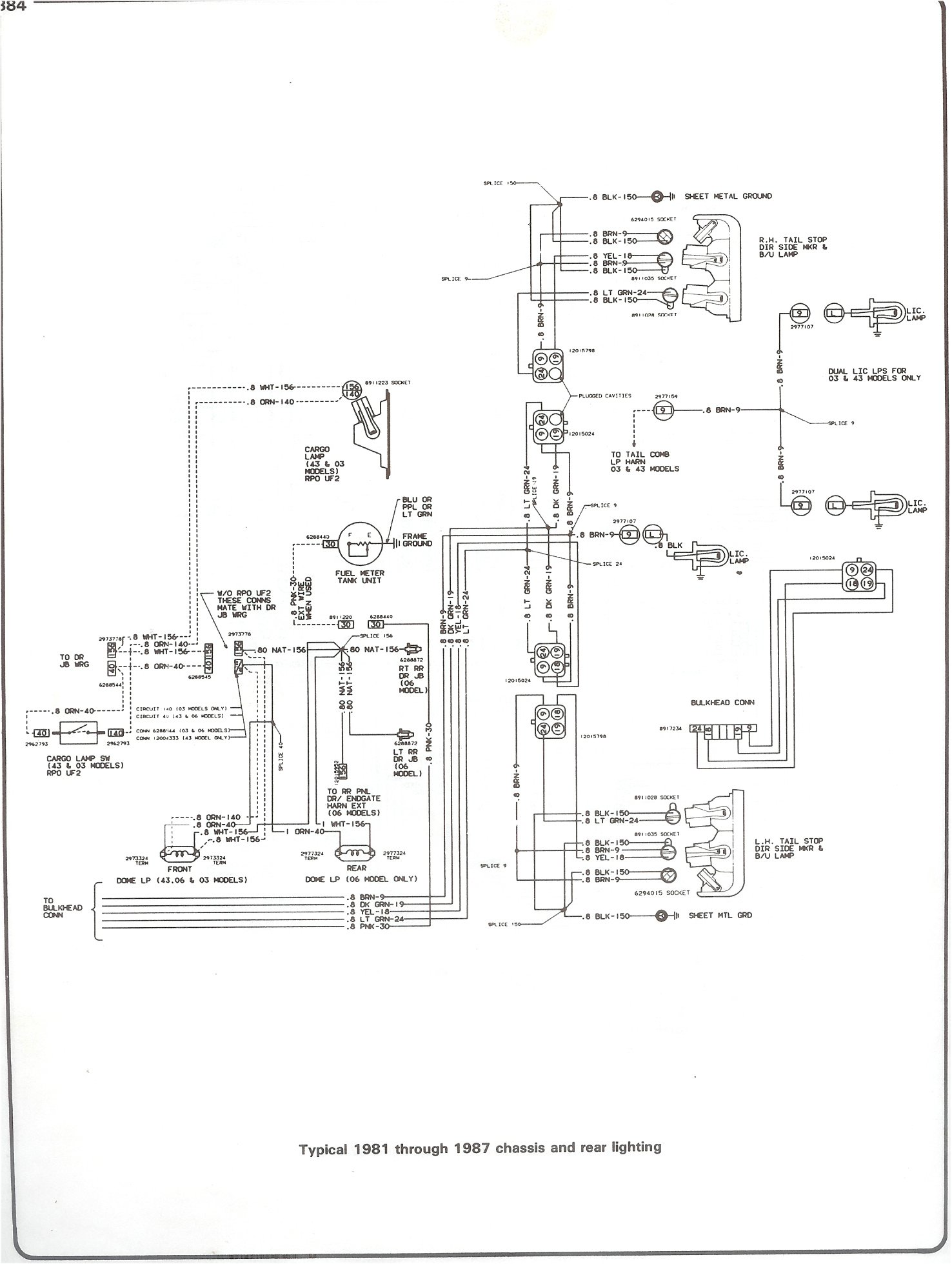 hight resolution of complete 73 87 wiring diagrams 86 suburban stereo wiring diagram 81 87 chassis and rear lighting