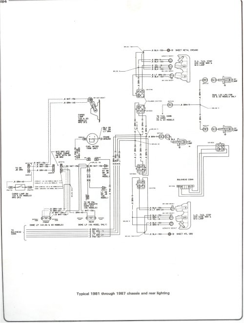 small resolution of complete 73 87 wiring diagrams 2001 chevy truck wiring diagram 81 87 chassis and rear lighting