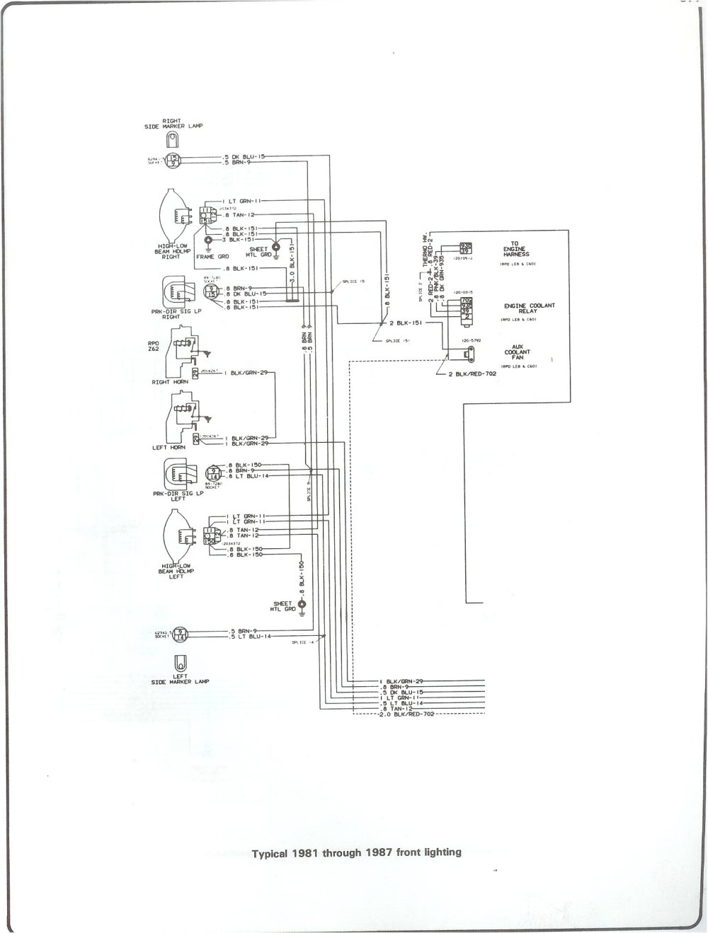 medium resolution of 81 87 front lighting complete 73 87 wiring diagrams