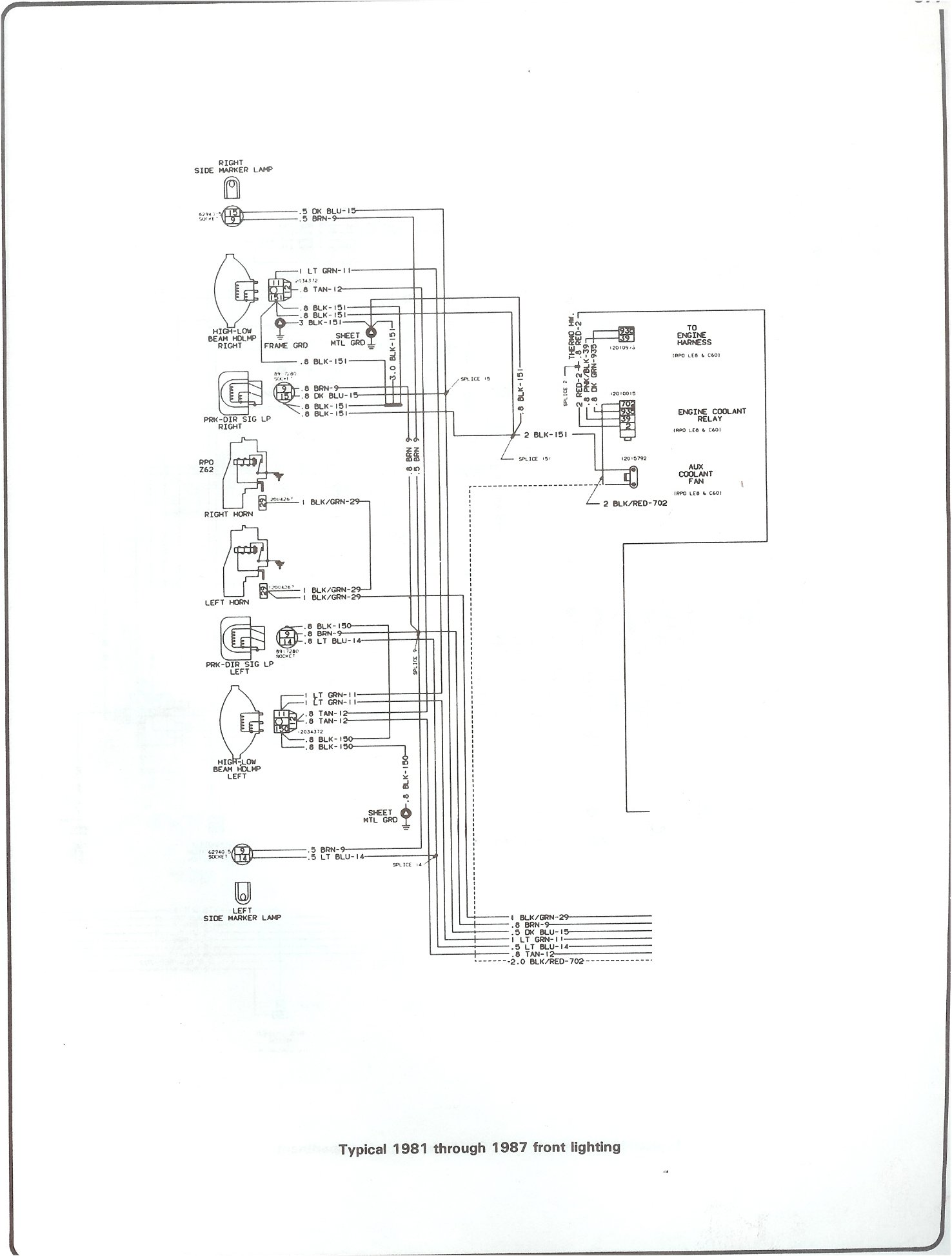 hight resolution of 81 87 front lighting complete 73 87 wiring diagrams