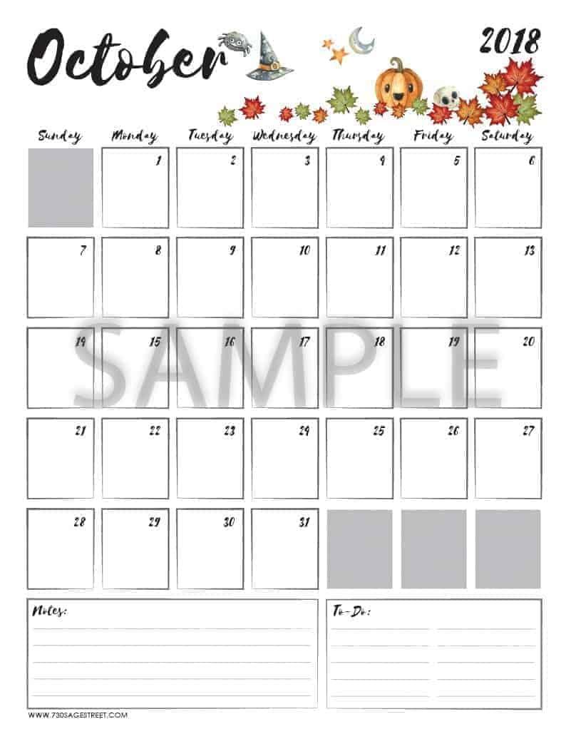 october 2018 printable calendar