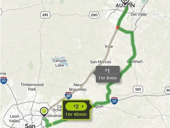 Alternate route from San Antonio to Austin, Texas