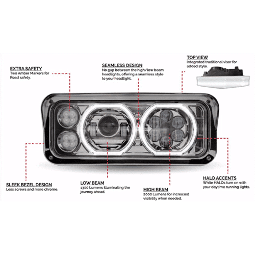 New Halo Led Headlight Assembly » 75 Chrome Shop